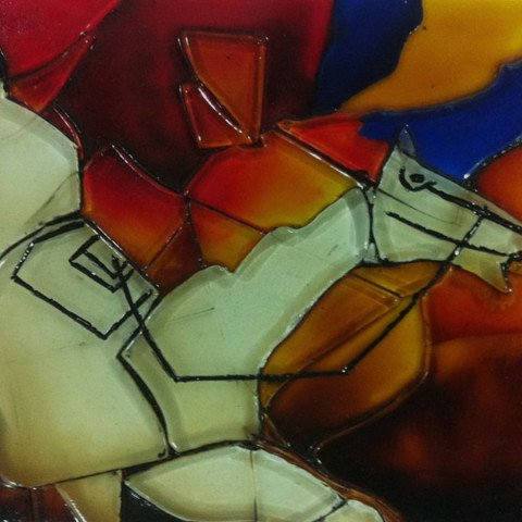 Fused glass panel, inspired by M.F Hussein
