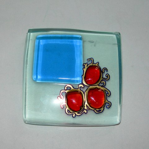 Fused Colored Glass Paperweight