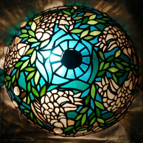 Coy Fish Pond Theme Stained Glass Dome Lamp
