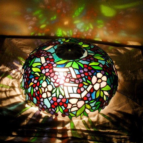 Grape Vine Theme Stained Glass Dome Lamp