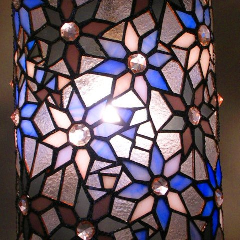 Moody Blues Theme Stained Glass Pillar Lamp