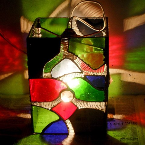 Stained Glass Cube Lamp