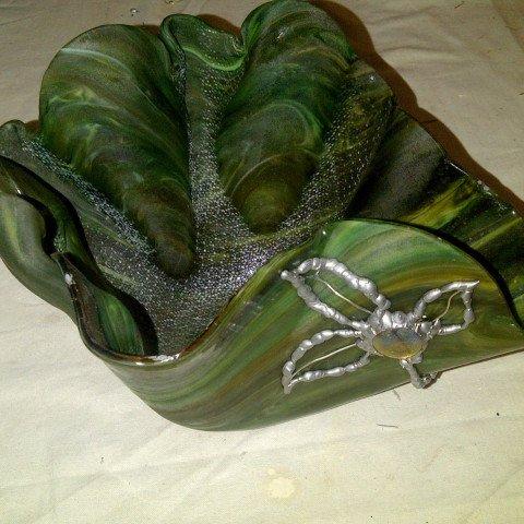 Forest Green, Glass & Metal Slumped dish