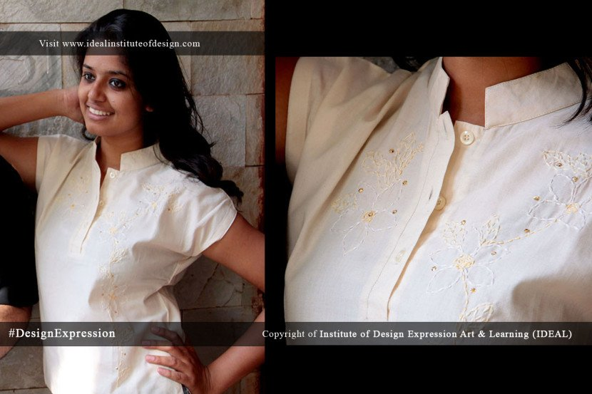 Cream handworked top with sequins, on a cream cotton cropped top