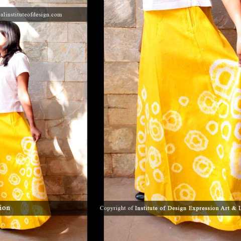 Summery yellow dyed panel skirt & cropped top