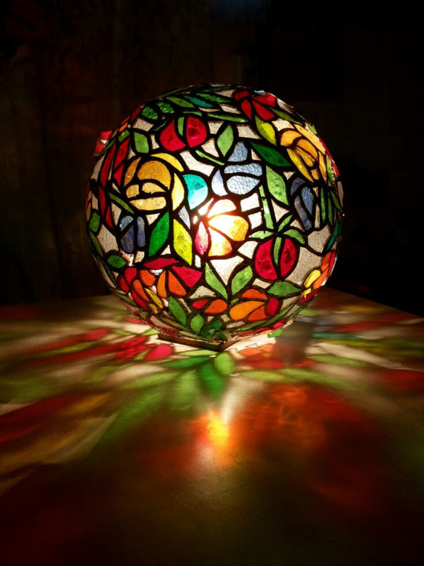 Stained Glass Globe Lamps .Tomatos Restraunt.